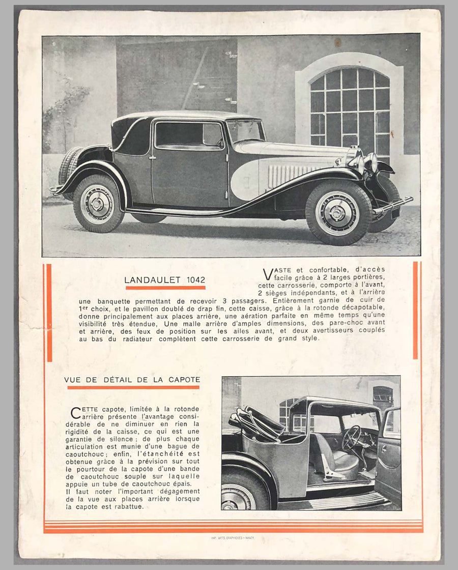 Bugatti Type 50T, 4.9 litre Original Sales Brochure inside
