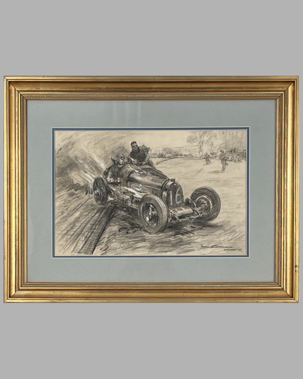 Bugatti charcoal and watercolor on board by Bryan de Grineau, 1933