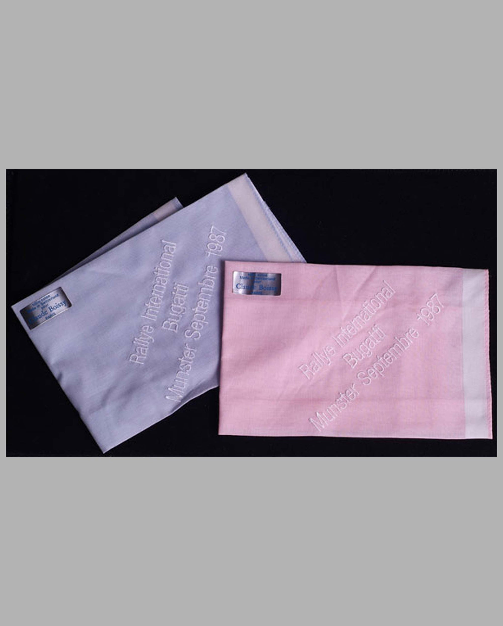 Two Bugatti International Rally souvenir handkerchiefs