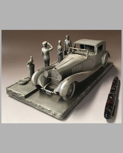 The Bugatti Royale Pewter Sculpture by Raymond Meyers, front view