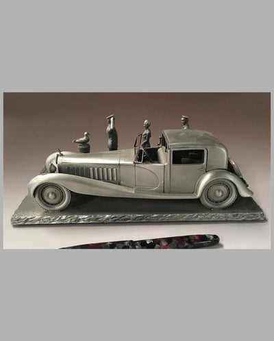 The Bugatti Royale Pewter Sculpture by Raymond Meyers, left side