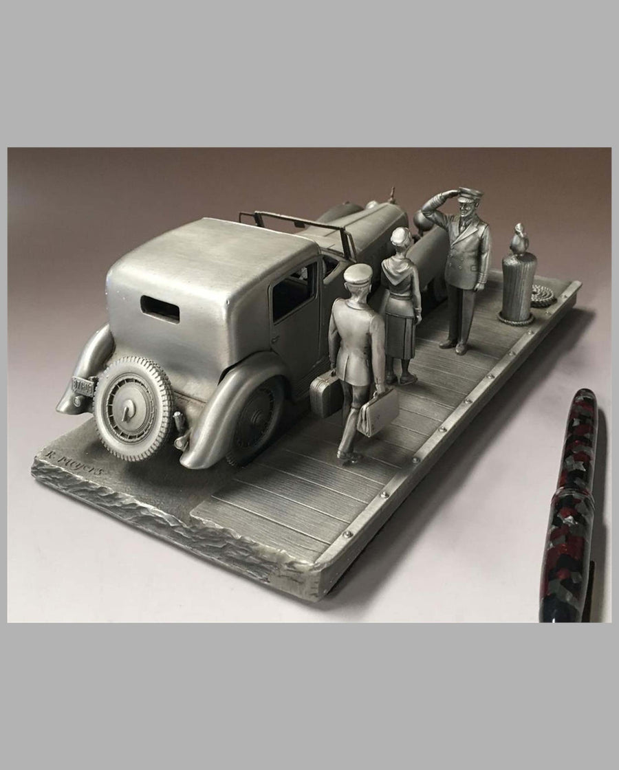 The Bugatti Royale Pewter Sculpture by Raymond Meyers, rear view