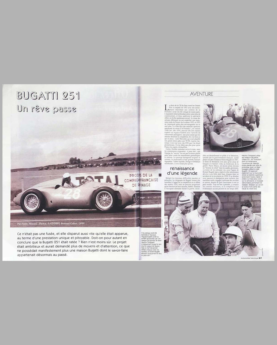Bugatti T251 driven by Maurice Trintignant autographed photograph by Bernard Cahier 3