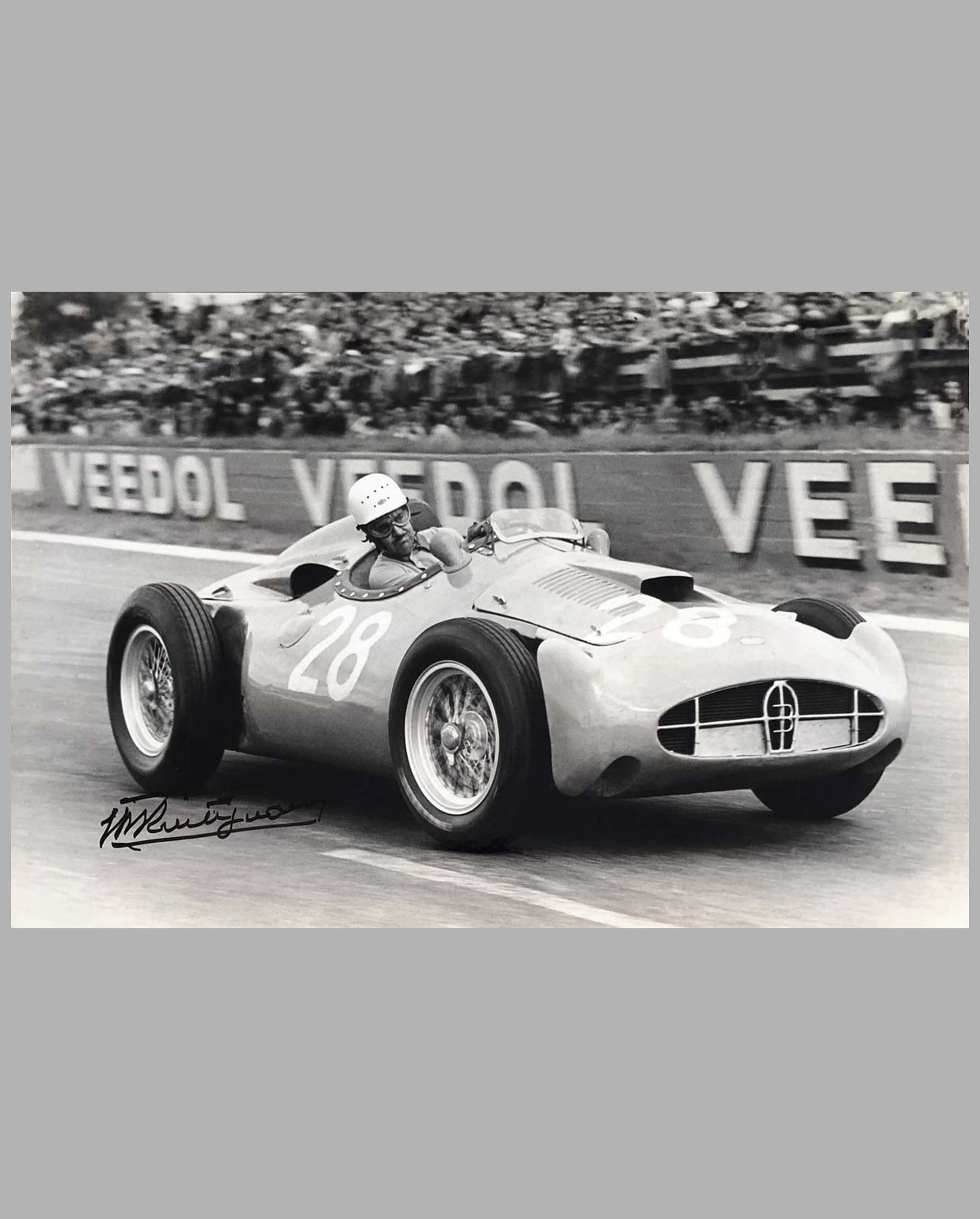 1956 Grand Prix Reims photograph by Bernard Cahier, autographed by Maurice Trintignant