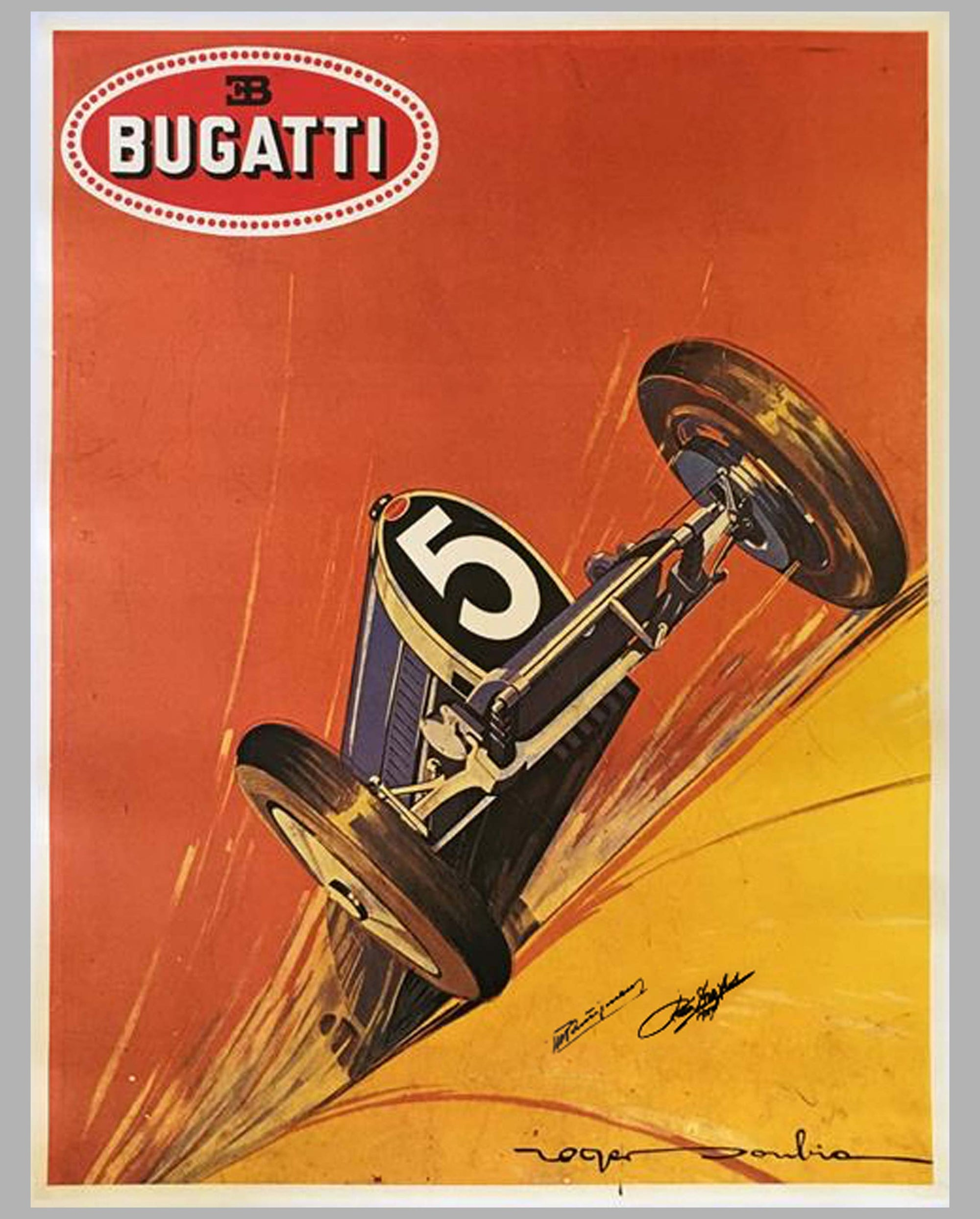 Type 35 Bugatti poster reproduction by Roger Soubie, autographed