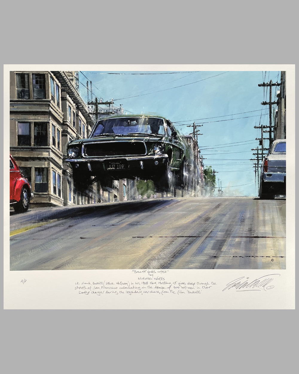 """Bullitt Gives Chase"" giclée on paper by Nicholas Watts"