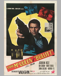 Bullitt starring Steve McQueen original Italian movie poster