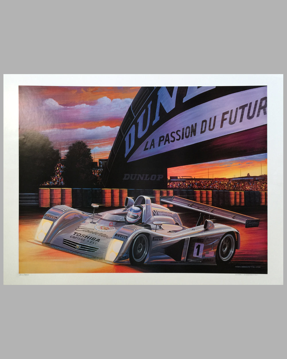 Cadillac at Le Mans print by Ken Eberts (USA), 2000, signed