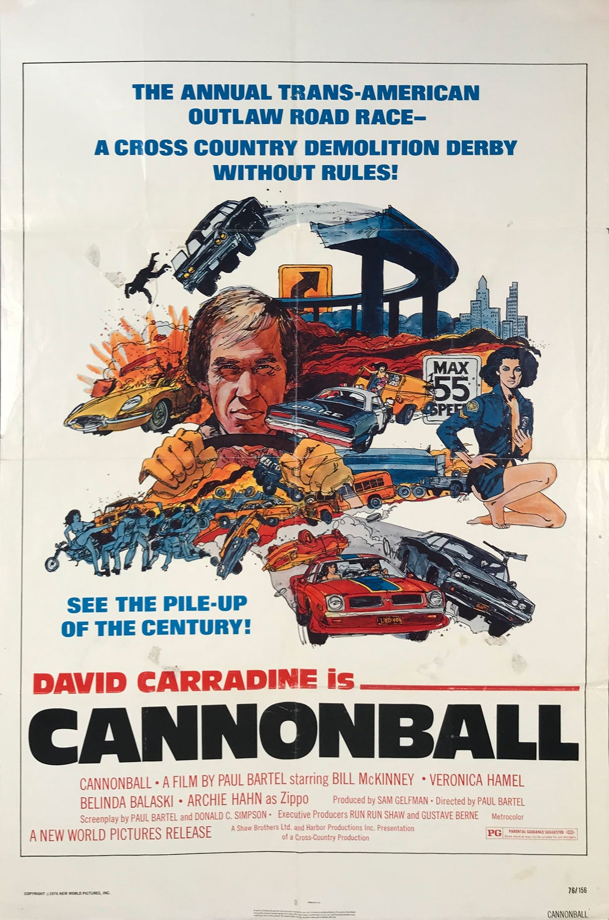 Cannonball movie poster with David Carradine - $175.00