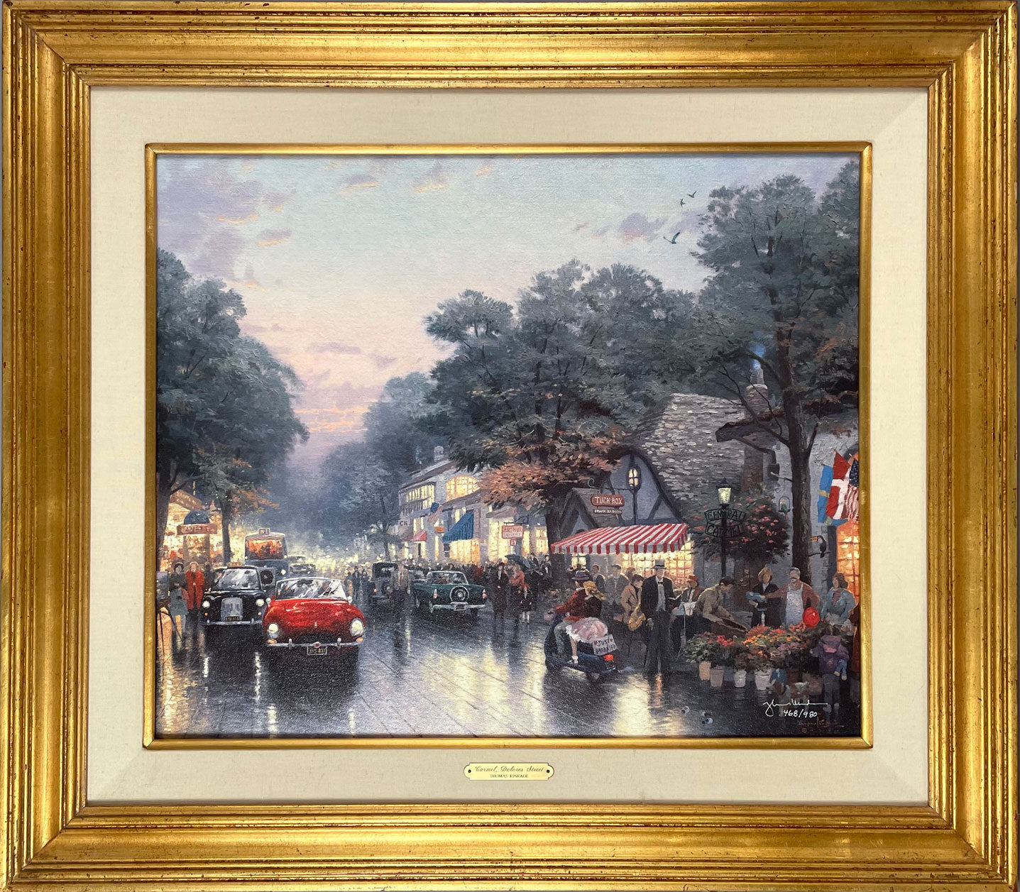 Carmel, Dolores Street giclée on canvas by Thomas Kinkade, signed
