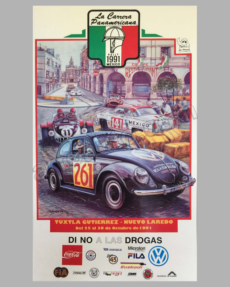Collection of 4 Carrera Panamericana event posters for 1989, 1991, 1992 and 1995