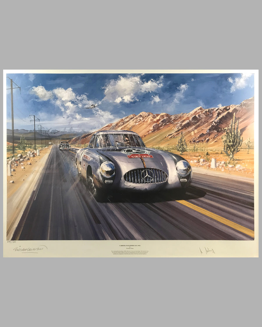 Carrera Panamericana 1952 print by Nicholas Watts, autographed by Karl Kling