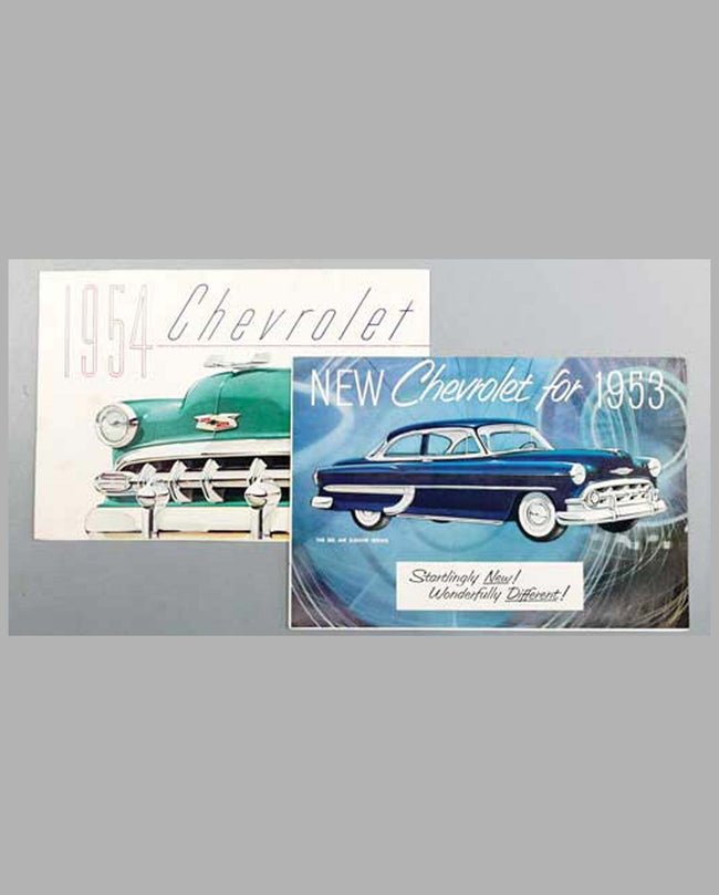 Two Chevrolet original color sales folders, 1953 and 1954