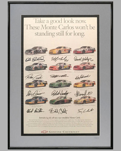 1995 Chevrolet Racing Daytona 500 ad copy, autographed by the 12 drivers