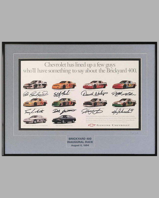 Brickyard 400 inaugural race ad copy, autographed by 8 drivers