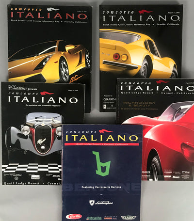 Five Concorso Italiano Concours programs from 1997 to 2004