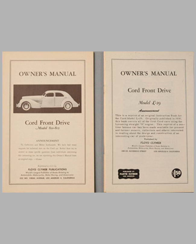 Two Cord owner's manual reprints by F. Clymer