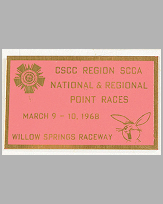 CSCC Regional SCCA National & Regional Point Races-Willow Springs Raceway 1968 participant's dash plaque