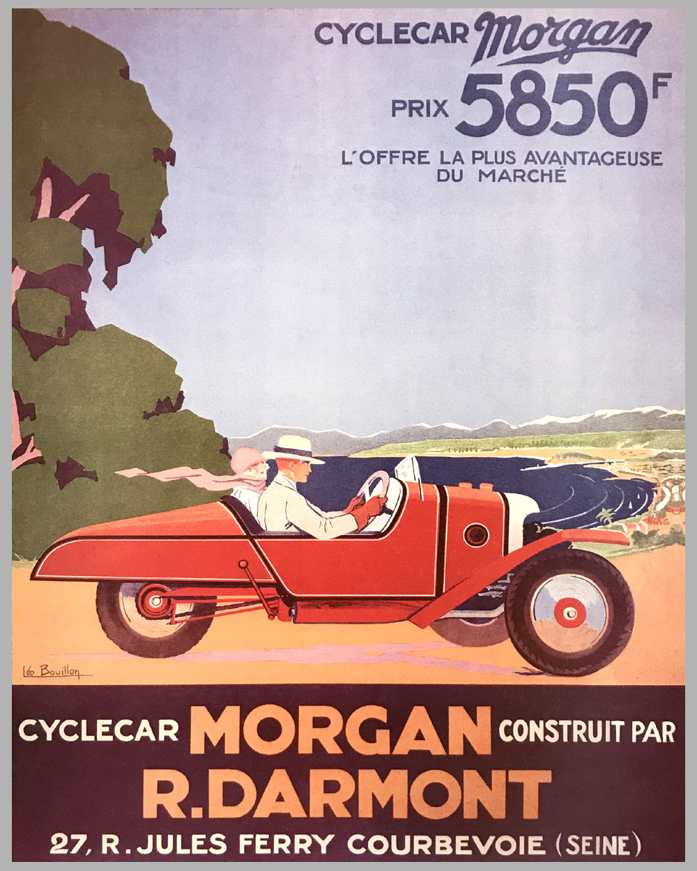 Cyclecar Morgan advertising poster by Leo Bouillon