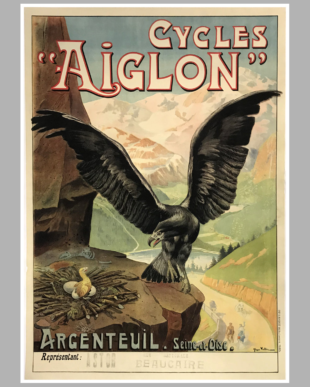 Cycles Aiglon large original poster, ca. 1901 by Georges Vallee