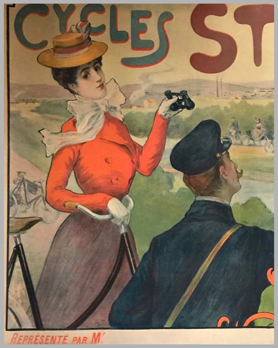 1890's Cycles Strock, French period advertising poster, by Charles Tickon 3