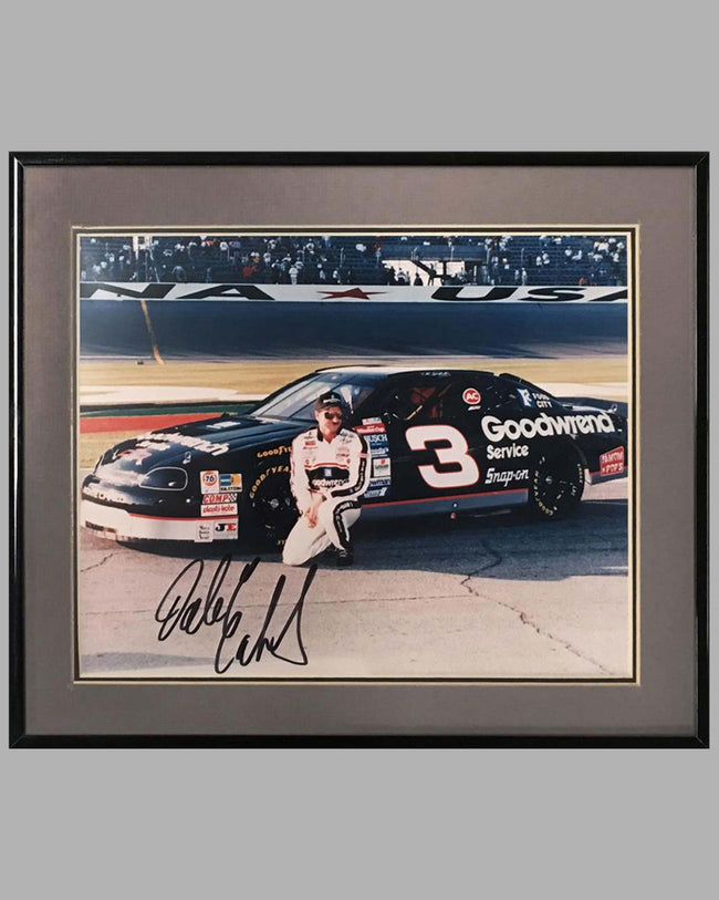 Dale Earnhardt, Sr. at Daytona color photograph, Autographed by Earnhardt Sr.