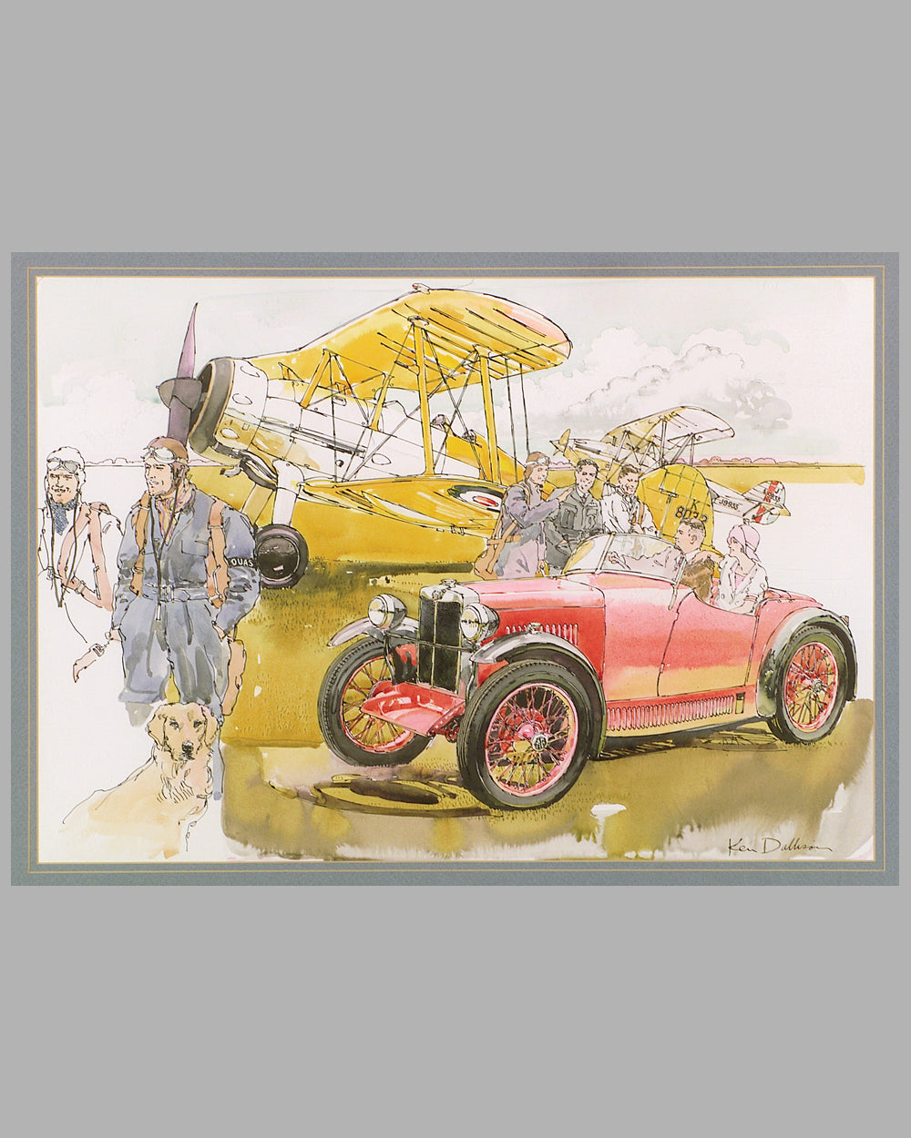 MG Midget at the Airfield painting by Ken Dallison