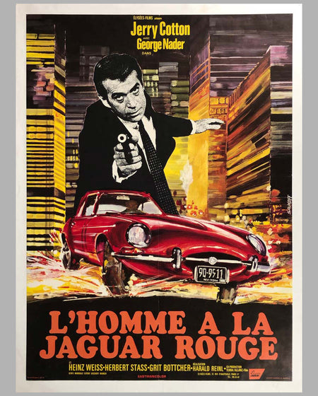'L'homme à la Jaguar rouge' (Death in a Red Jaguar) original movie poster 1968