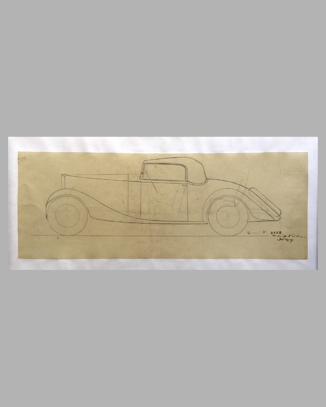 Delage 11CV Sport Coupe concept drawing - Linen Backed