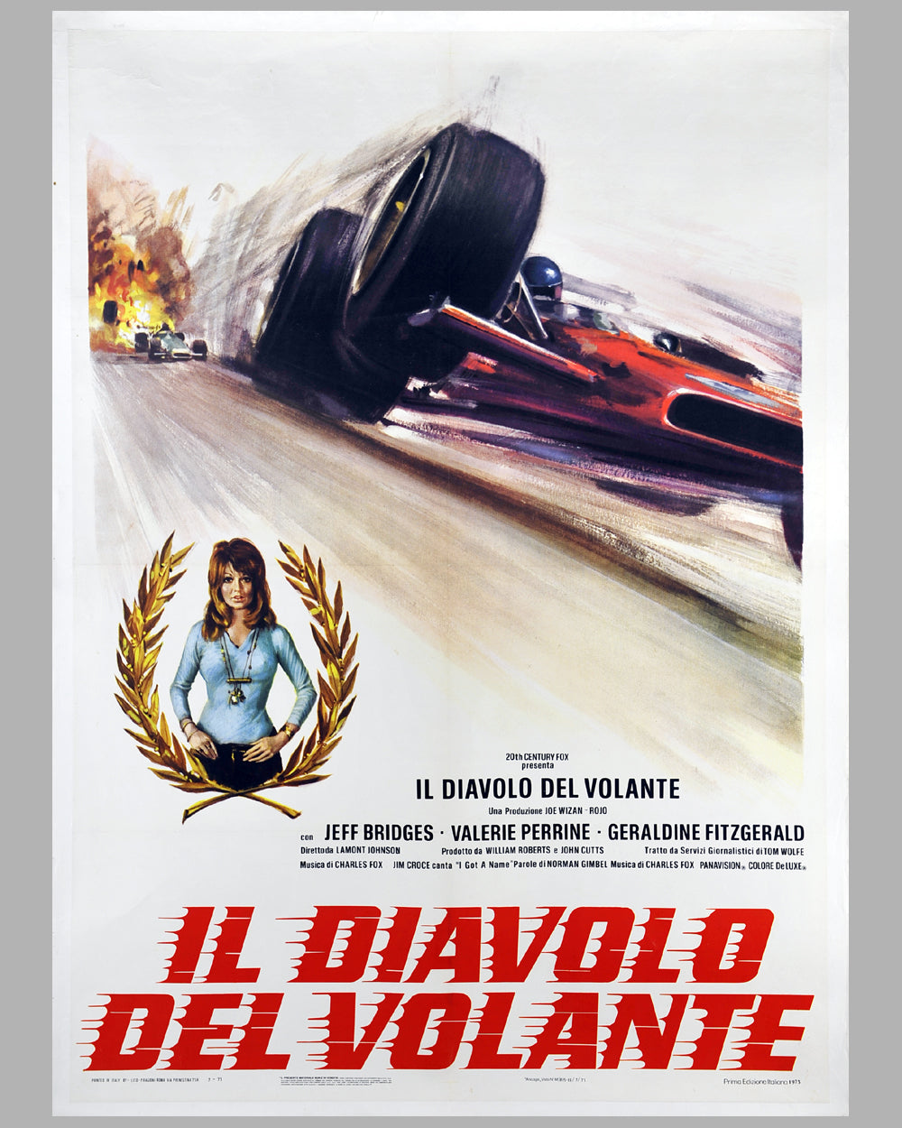 1973 The Last American Hero (Il Diavolo del Volante) original large movie poster