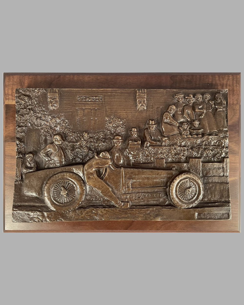 """Down and Out in Nice"" bronze sculpture (bas relief) by Thomas Melahn"