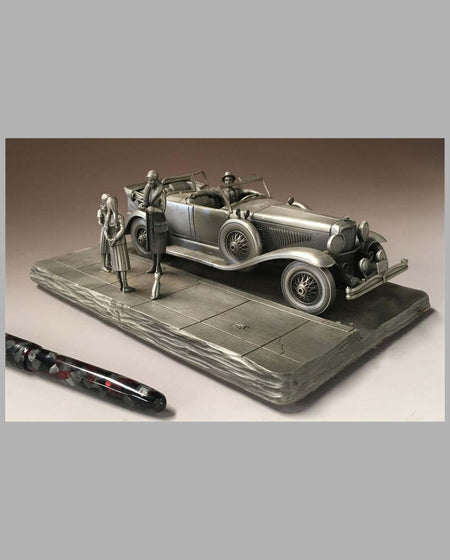 The Duesenberg Model J Pewter Sculpture by Raymond Meyers, right side isometric view