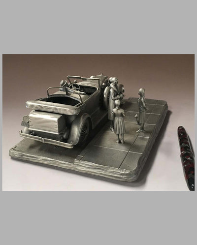 The Duesenberg Model J Pewter Sculpture by Raymond Meyers, rear view