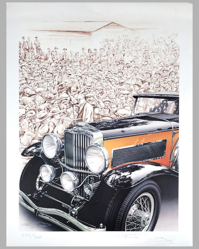 Duesenberg on the Block lithograph by Francois Bruere