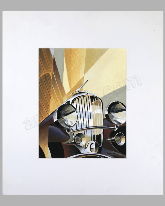 Duesenberg Model J painting by Alain Lévesque, watercolor on art board