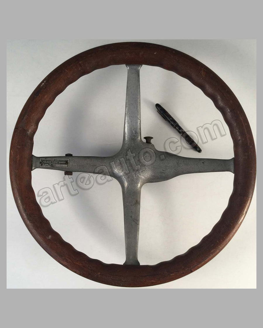 Early 1900 wooden and metal steering wheel