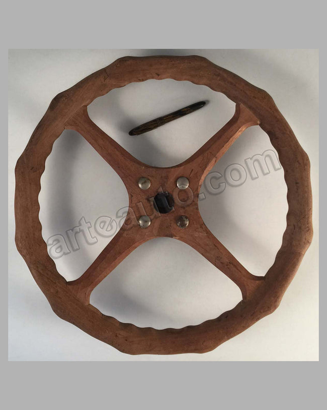 Early 1900 wooden steering wheel
