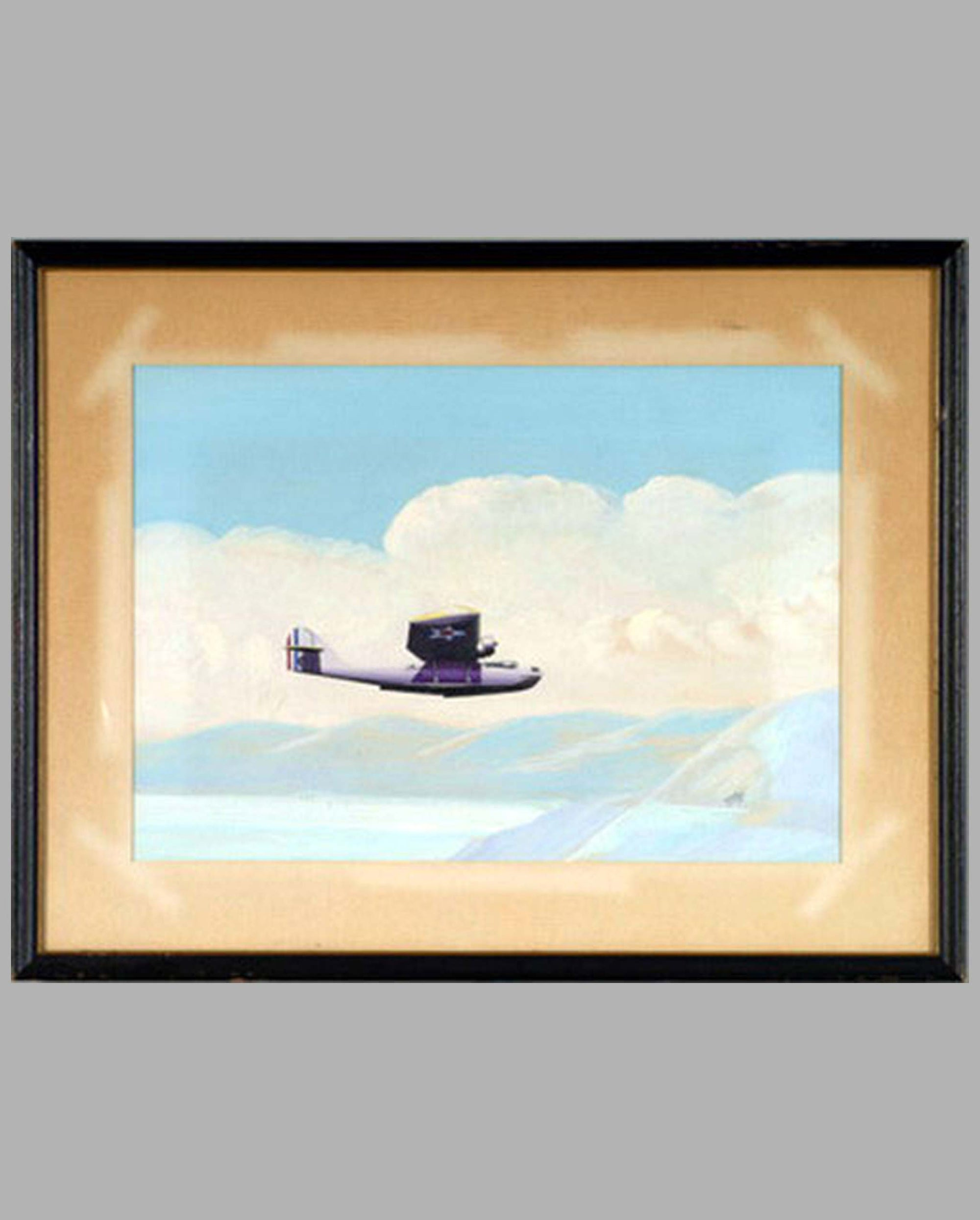 Early PBY Seaplane Prototype painting by Alpnarly Lyster, U.S.A. ca 1937, gouache on board