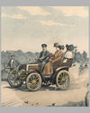 Early motoring scene, 1900, period print by Eugene Courboin, France 2