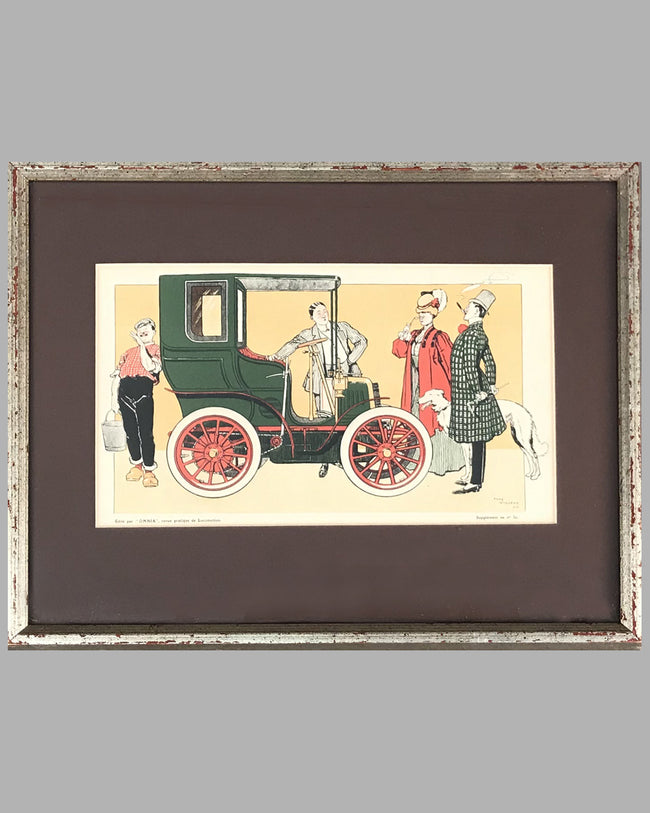 Early automotive scene color plate by Rene Vincent, 1906