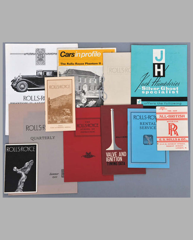 Eleven pre-war Rolls Royce pamphlets, magazines, sales literature and catalogs