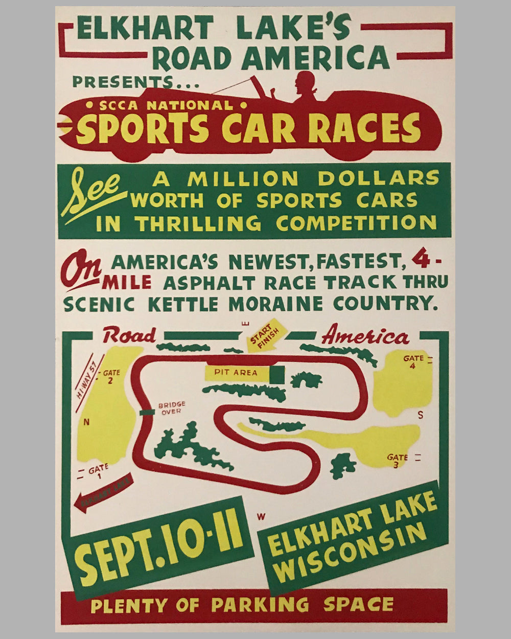 Elkhart Lake 1955 original poster