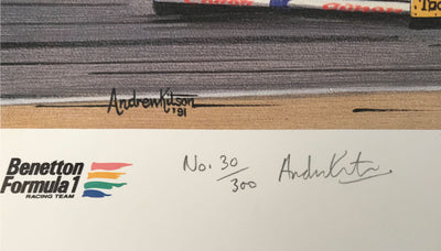 Equals Two Hundred print by Andrew Kitson, autographed by Nelson Piquet