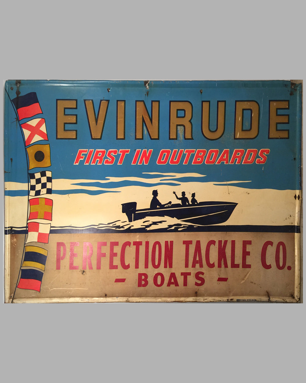 ca. 1950's Large Evinrude painted metal embossed sign