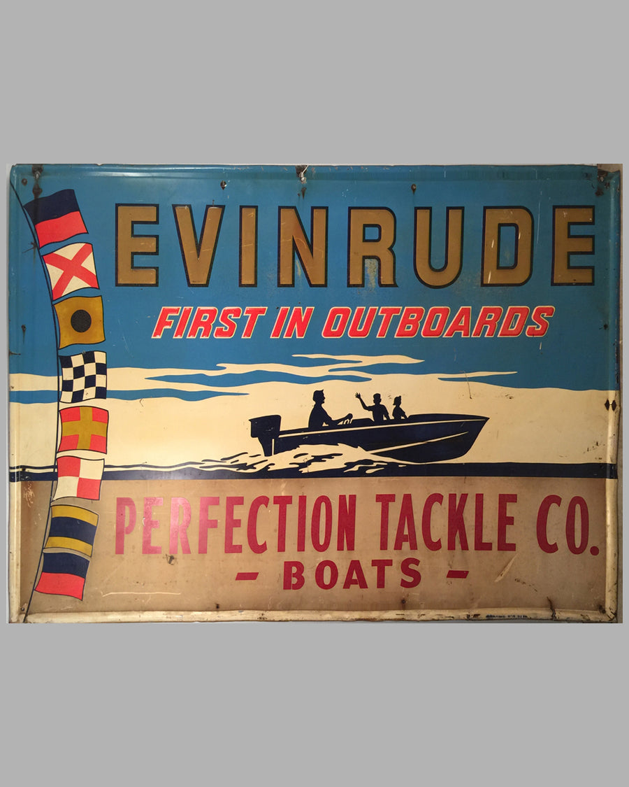 Large Evinrude painted metal embossed sign