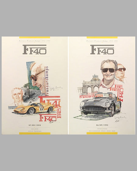 Two F40 posters by Chuck Queener, Autographed by Jacques Swaters