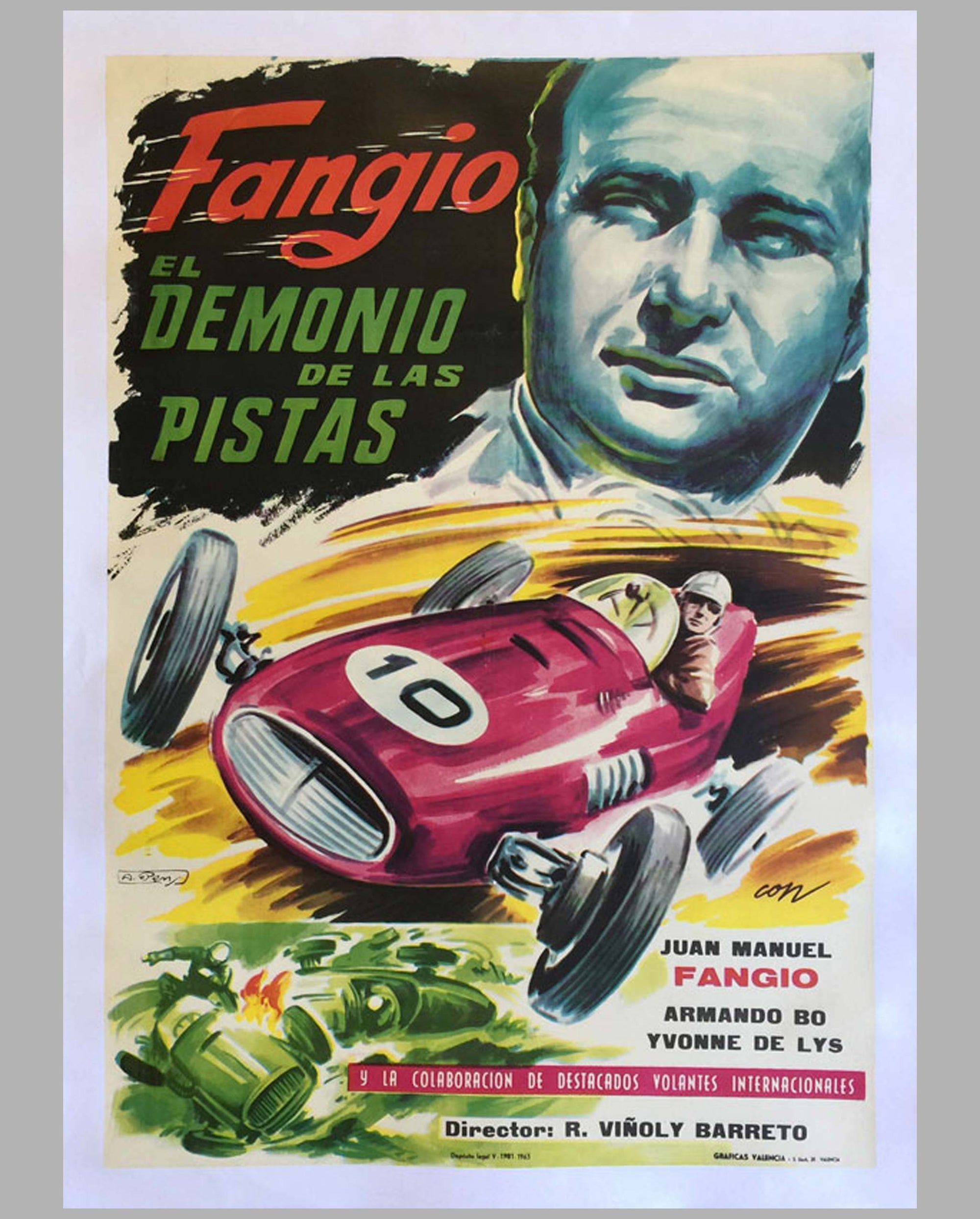 "1950 original movie poster, ""Fangio El Demonio de la Pistas"""
