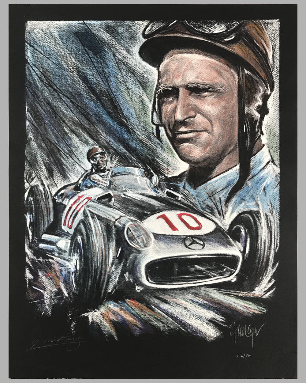 """Fangio in his Mercedes W196"" autographed lithograph by Jorge Ferreyra, Argentina"