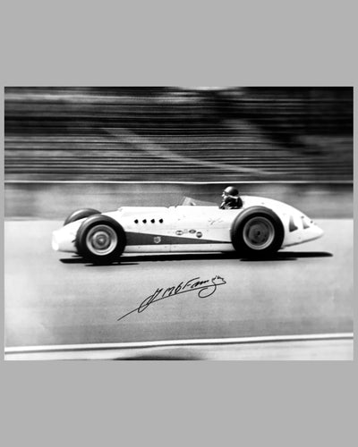 1958 Indianapolis 500 b&w photograph autographed by Juan Manuel Fangio