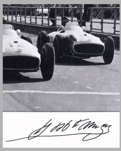 Juan Manuel Fangio & Stirling Moss 1955 British GP b&w autographed photograph 2